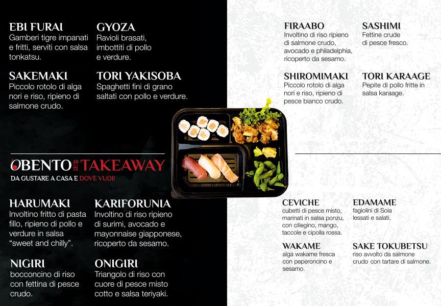 Tutte le caratteristiche del Bento Takeaway del ristorante 'Osushi